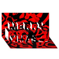 Red design Merry Xmas 3D Greeting Card (8x4)