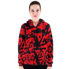 Red design Women s Zipper Hoodie