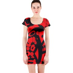 Red design Short Sleeve Bodycon Dress