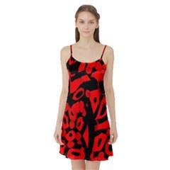 Red design Satin Night Slip