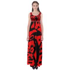 Red design Empire Waist Maxi Dress