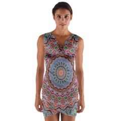 Abstract Painting Mandala Salmon Blue Green Wrap Front Bodycon Dress