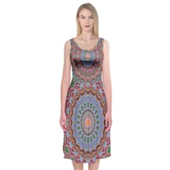 Abstract Painting Mandala Salmon Blue Green Midi Sleeveless Dress
