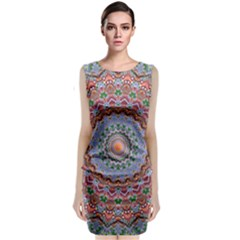 Abstract Painting Mandala Salmon Blue Green Classic Sleeveless Midi Dress