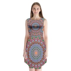 Abstract Painting Mandala Salmon Blue Green Sleeveless Chiffon Dress