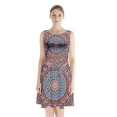Abstract Painting Mandala Salmon Blue Green Sleeveless Chiffon Waist Tie Dress