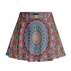 Abstract Painting Mandala Salmon Blue Green Mini Flare Skirt