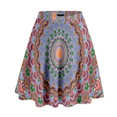 Abstract Painting Mandala Salmon Blue Green High Waist Skirt