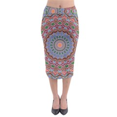 Abstract Painting Mandala Salmon Blue Green Midi Pencil Skirt