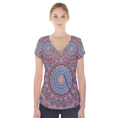 Abstract Painting Mandala Salmon Blue Green Short Sleeve Front Detail Top
