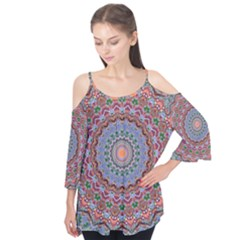Abstract Painting Mandala Salmon Blue Green Flutter Tees