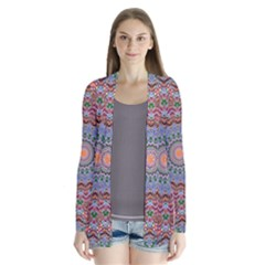 Abstract Painting Mandala Salmon Blue Green Drape Collar Cardigan