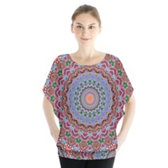 Abstract Painting Mandala Salmon Blue Green Blouse