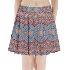 Abstract Painting Mandala Salmon Blue Green Pleated Mini Skirt