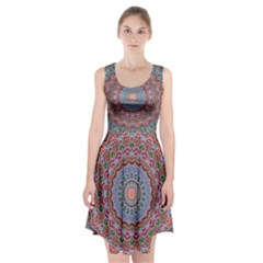 Abstract Painting Mandala Salmon Blue Green Racerback Midi Dress