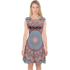 Abstract Painting Mandala Salmon Blue Green Capsleeve Midi Dress