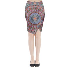 Abstract Painting Mandala Salmon Blue Green Midi Wrap Pencil Skirt