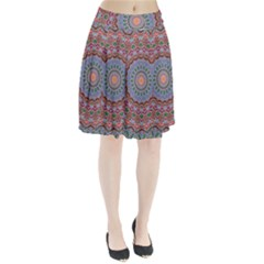 Abstract Painting Mandala Salmon Blue Green Pleated Skirt