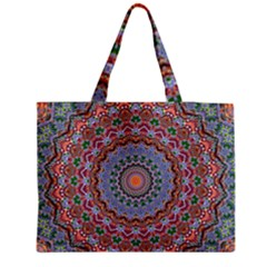 Abstract Painting Mandala Salmon Blue Green Medium Tote Bag