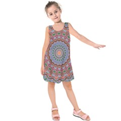Abstract Painting Mandala Salmon Blue Green Kids  Sleeveless Dress