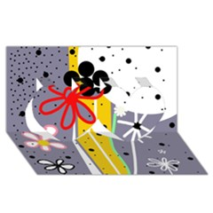 Flowers Twin Hearts 3d Greeting Card (8x4)