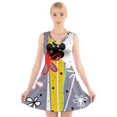 Flowers V-Neck Sleeveless Skater Dress