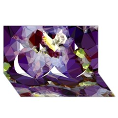 Purple Abstract Geometric Dream Twin Hearts 3d Greeting Card (8x4)