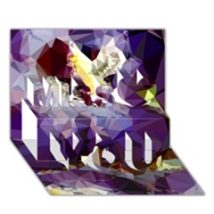 Purple Abstract Geometric Dream Miss You 3D Greeting Card (7x5)