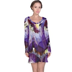 Purple Abstract Geometric Dream Long Sleeve Nightdress