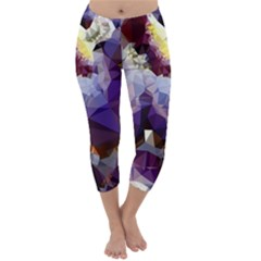 Purple Abstract Geometric Dream Capri Winter Leggings