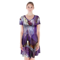 Purple Abstract Geometric Dream Short Sleeve V-neck Flare Dress