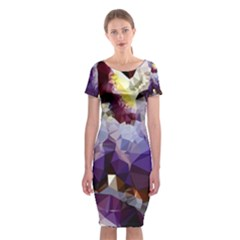 Purple Abstract Geometric Dream Classic Short Sleeve Midi Dress