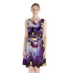 Purple Abstract Geometric Dream Sleeveless Chiffon Waist Tie Dress