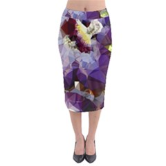 Purple Abstract Geometric Dream Midi Pencil Skirt