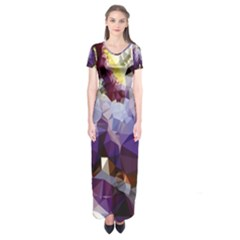 Purple Abstract Geometric Dream Short Sleeve Maxi Dress