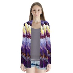 Purple Abstract Geometric Dream Drape Collar Cardigan