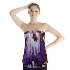 Purple Abstract Geometric Dream Strapless Top