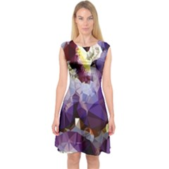 Purple Abstract Geometric Dream Capsleeve Midi Dress