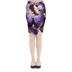 Purple Abstract Geometric Dream Midi Wrap Pencil Skirt