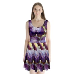 Purple Abstract Geometric Dream Split Back Mini Dress