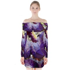 Purple Abstract Geometric Dream Long Sleeve Off Shoulder Dress