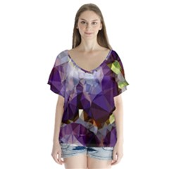 Purple Abstract Geometric Dream Flutter Sleeve Top