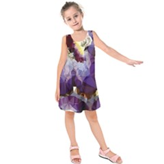 Purple Abstract Geometric Dream Kids  Sleeveless Dress