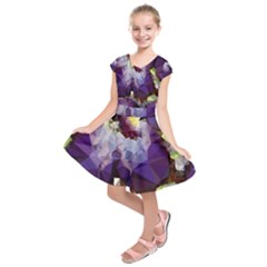 Purple Abstract Geometric Dream Kids  Short Sleeve Dress