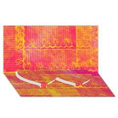 Yello And Magenta Lace Texture Twin Heart Bottom 3d Greeting Card (8x4)