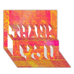 Yello And Magenta Lace Texture Thank You 3d Greeting Card (7x5)