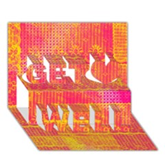 Yello And Magenta Lace Texture Get Well 3d Greeting Card (7x5)