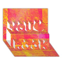Yello And Magenta Lace Texture You Rock 3d Greeting Card (7x5)