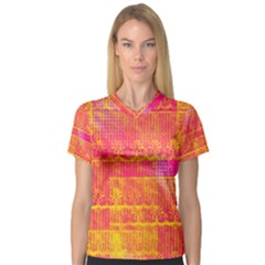 Yello And Magenta Lace Texture Women s V Neck Sport Mesh Tee