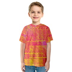 Yello And Magenta Lace Texture Kids  Sport Mesh Tee